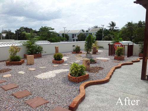 Boring roof terrace why not install a thai rock garden for Terrace roof design india